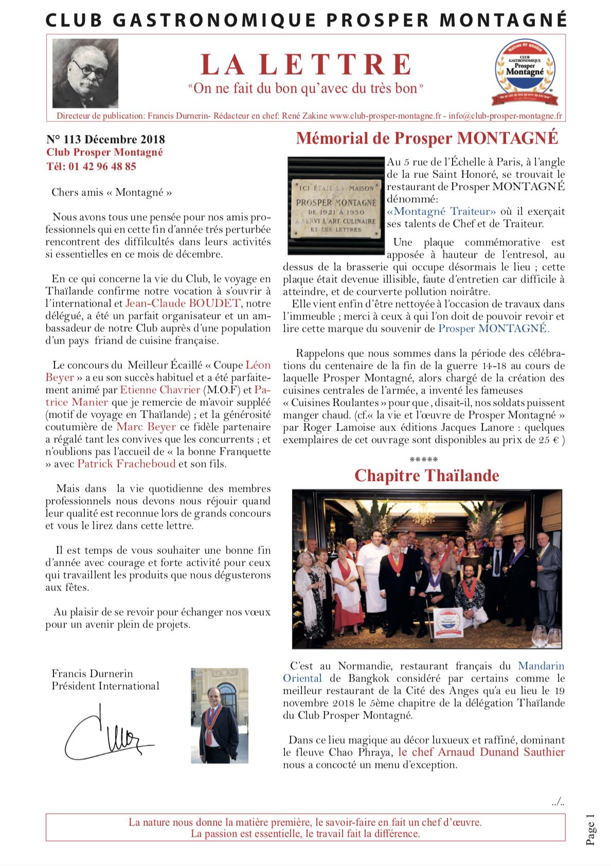 Lettre décembre Club gastronomie Prosper Montagné